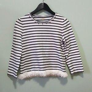 ⭐KATE SPADE New York Striped Fringe Pullover